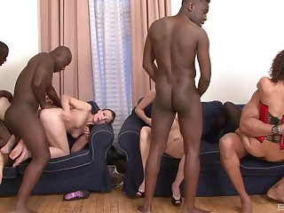 Hardcore interracial foursome with cum for Alice Black and Suzen Sweet