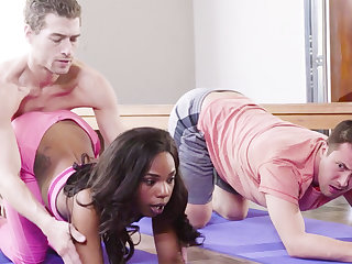 Yoga Teacher Fucked Deathly Piece of baggage in Threesome