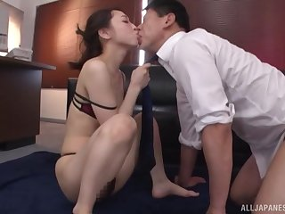 Oiled up Japanese secretary Kase Kanako rides her boss in the office