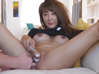 Exotic asian MILF Tiffany needs a little help masturbating at home