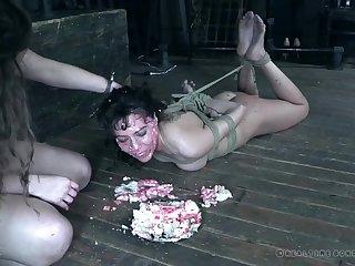Messy food fetish torture session with tied up slut Vera King
