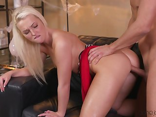 Pretty girl Lovita Fate fucks her boyfriend on leather couch