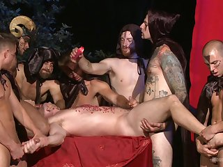 Gay males uses hot wax on guy's ass and penis during gay orgy