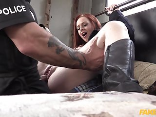 Redhead arrested and fucked by cop with huge dick