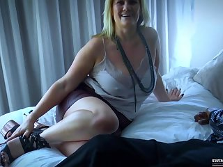 Busty amateur fucking two dicks at once in interracial threesome