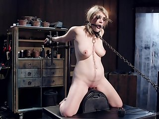 Blonde chick Winnie Rider with nice natural tits tied up and tortured