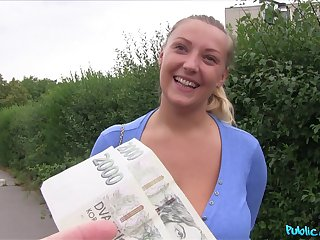 Amateur chick with large natural bazooms fucked in outoors for money
