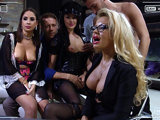 Slutty bitch Carolina Vogue is brutally hammered by two well hung studs
