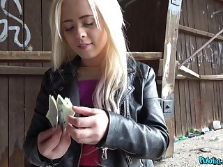 Lad pays the blonde teenager good cash for that pussy