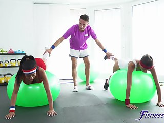 FFM gym threesome with stunning Canela Skin and Baby Nicols