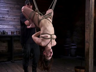 Hot ass brunette Juliette March tied up, spanked and penetrated