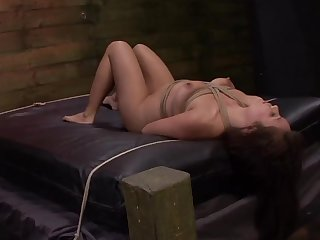 Balls deep mouth and pussy fucking for tied up amateur Mena Mason