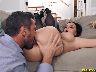 Busty MILF plays rough when the dick starts ramming her tiny holes