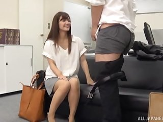 Quickie fucking in the office with a stunning Japanese girl