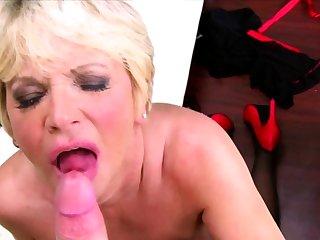 Blonde horny grandma takes panties out