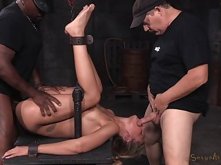Slave girl gets tied up and fucked by a white and a black guy