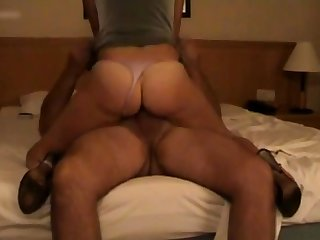Despondent fit together with thong and stockings cumming on climax