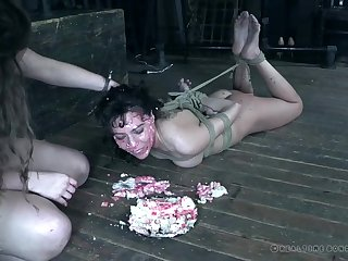 Messy food fetish torture session with tied up slut Vera King