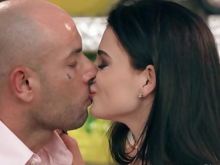 Bald guy and his mistress diversify sensual sex with some ice