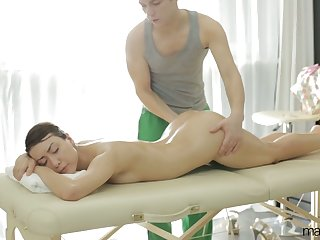 Horny masseur fucks beautiful slender babe Ada in her mouth and pussy