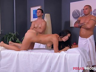 Ballpark palpate and a gang bang for an oiled around brunette Roxy Lane