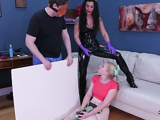 Kinky mistress in latex outfit puts on strapon and fucks anal hole of tied up blonde