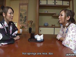Lovely buxom Jap Akari Asayiri helps another kawaii Asian gal to masturbate