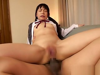 Petite lingerie asian sucks dick in threeway