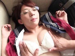 Nerdy Asian girl adores strong orgasm and her friend's juice on her face