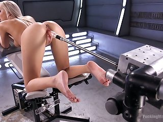 Blond wench Tiffany Watson shows off her dripping pussy satisfied with sex machine