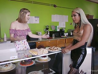 Tanned ladyboy Mara Nova fucks deep throat and juicy cunt of blond hooker