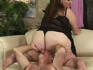 BBW rides the senior cock then swallows the warm sperm