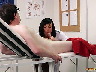 Hot brunette nurse strokes and sucks his thick prick