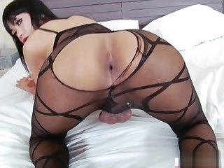 Asian TS Yummy jerk off and gapes ass