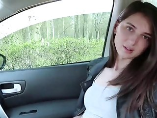 Horny and sexy brunette shemale outdoor flashing
