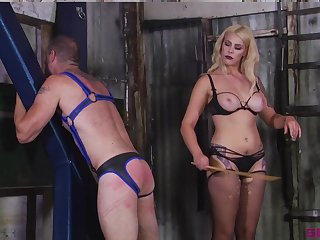 Blonde Mistress Bella Bathory wants to punish her lover with BDSM sex game